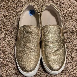 Sparkly gold platform sneakers
